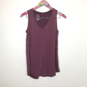 Maurices plum v-neck tank top size S